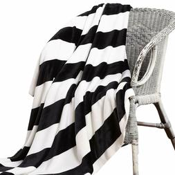 NTBAY Double-Layered Flannel Throw Blankets, Black and White