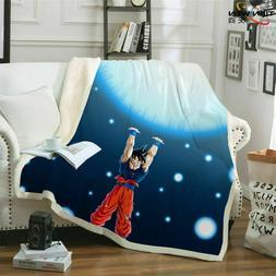 Dragon Ball Z Goku 3D Printed Throw Blanket Plush Sofa Bed S