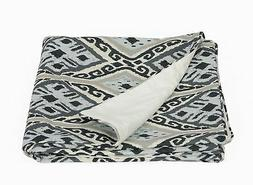 Duncan Ikat Design Linen/Velvet Reversible Throw Blanket, 50