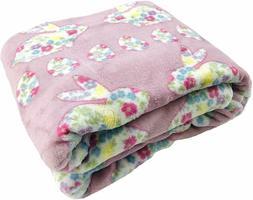 Easter Spring Throw Blanket Floral Bunnie Egg Print Soft Coz