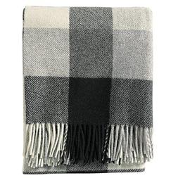 Pendleton Eco-Wise Washable Wool Fringed Throw Blanket, Blac