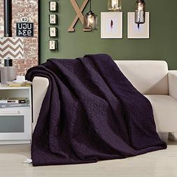 DaDa Bedding Ultra Sonic Blanket - Purple Quilted Throw Cove