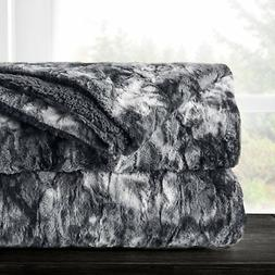 Italian Luxury Super Soft Faux Fur Throw Blanket - Elegant C