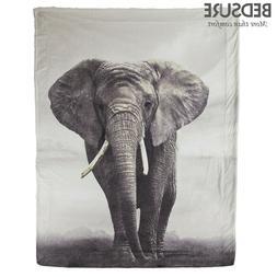 Bedsure Elephant Pattern Sherpa Fleece Blanket Warm Throw