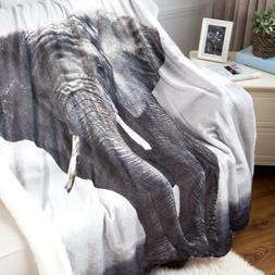Bedsure Elephant Sherpa Throw Blanket Animal Bedding Blanket