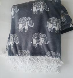 Elephant Throw Blanket Plush Berkshire Blanket Opulence Gray