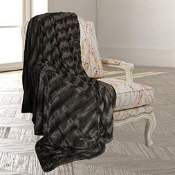 Swift Home Embossed Faux Fur Throw Blanket & Bedspread - Lux
