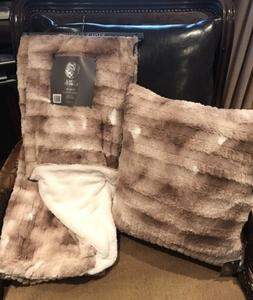 Vince Camuto Embossed Faux Fur Throw Blanket &  Feather Fill