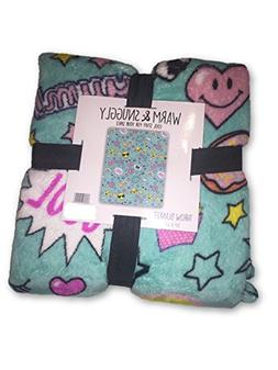 "Emoji Blanket Plush Throw Smiley Unicorn Rainbow 50"" X 60"" C"