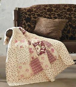 ENGLISH GARDEN 50x60 QUILT THROW : COTTAGE PINK ROSE SHABBY