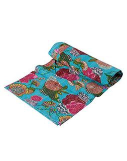 RAJRANG Indian Handmade Decorative Kantha Throw Blanket Vint