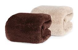 Berkshire Blanket Extra-Fluffy Plush Throw, Chocolate 2