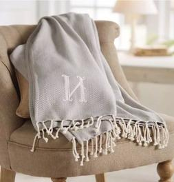 """F"" New Mud Pie Home Decor Herringbone Initial Throw Bla"