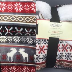 Berkshire Fair Isle Throw Blanket Moose Snowflakes Winter Sh
