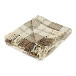 Fall Blanket Farmhouse Woven Throw Blanket with Fringe Plaid