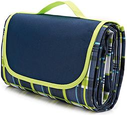 Family Picnic Blanket with Tote, Extra Large Foldable and Wa