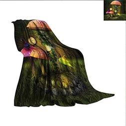 smallbeefly Fantasy Throw Blanket Fiction Forest with Giant