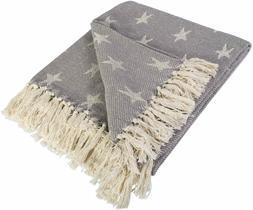 """DII Farmhouse Woven Throw Blanket, 50"""" x 60"""" with 3"""" Fringe,"""