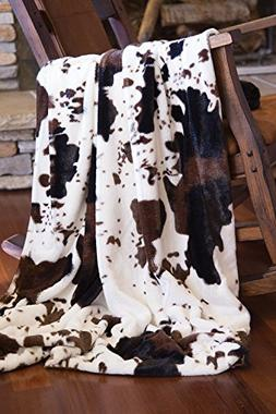 Faux Fur Cowhide Plush Throw Blanket