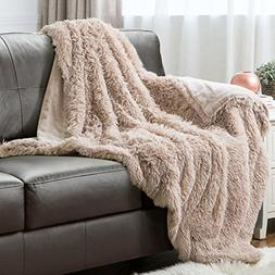 Bedsure Plush Faux Fur Reversible Fleece Bed Throw Fuzzy Nap