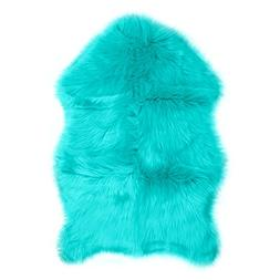 Faux Fur Sheepskin Rug – Teal, Furry Rugs for Vanity Seats