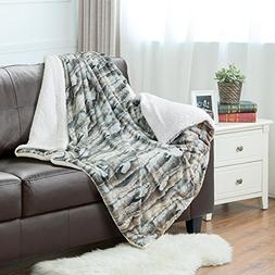 Faux Fur Sherpa Throw Blanket 50x60 Rustic Bark Color Home D