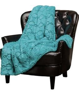 Chanasya Faux Fur Sherpa Throw Blanket, Geometric Embossed P