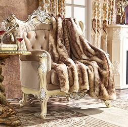 Lindsey Home Fashion Faux Fur Throw, Fur Blankets Super Soft