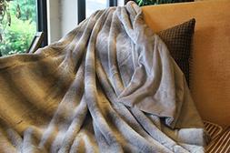 Tache Faux Fur Throw Blanket - 63 x 87 Inch Striped Super So