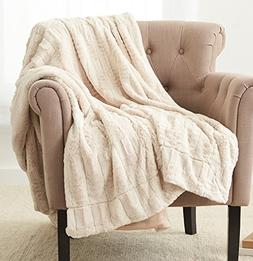 "Pinzon Faux Fur Throw Blanket 50"" x 60"", Ivory"