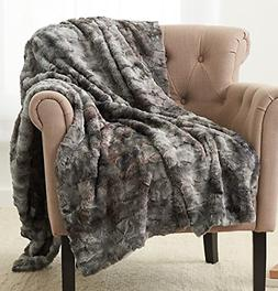 "Pinzon Faux Fur Throw Blanket 50"" x 60"", Frost Grey"