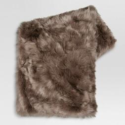 "Faux Fur Throw Blanket - Brown - 60"" x 50"" - Threshold - NEW"