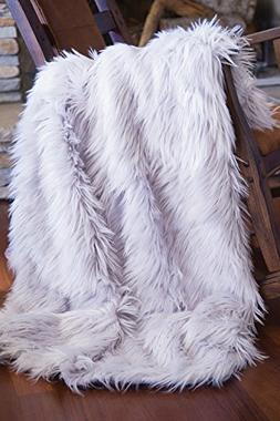 Faux Fur Throw Blanket, Mongolian Long Hair Silver