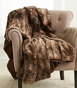Faux Fur Throw Blanket Ivory Alpine Brown Grey