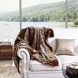 Faux Fur Throw Blanket Leopard Bed Blanket Super Soft Warm R