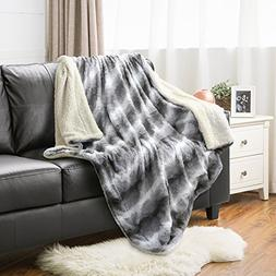 "Faux Fur Throw Blanket PV Fleece Bed Throws 60""x80"" Solid Li"
