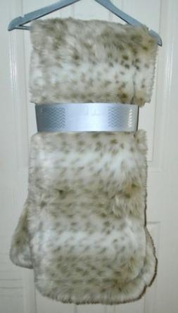 Nicole Miller Faux Fur Throw Blanket Reversible Snow Leopard