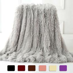 Faux Fur Throw Blanket Reversible Soft Fluffy Fleece Shaggy