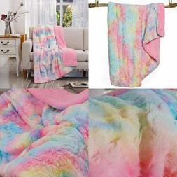Faux Fur Throw Blanket Super Soft Fuzzy Lightweight Luxuriou