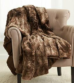 "Pinzon Faux Fur Throw Blanket 50"" x 60"", Alpine Brown New Fr"
