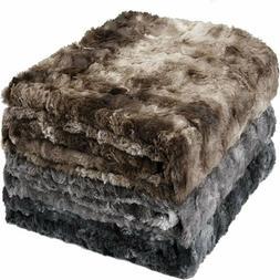 SOFTAN Faux Fur Throw Blanket Warm Plush Fleece Fluffy Sherp