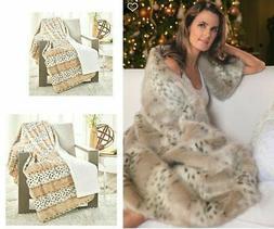 Concierge Collection Faux Fur Throw Plush Blanket ARCTIC LEO