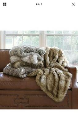 "Faux Throws Fur - Lounge Blanket Amber Fox 58""W 60""L  Home K"