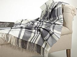 "Fennco Styles Plaid Design Throw Blanket in Soft Hues, 50"" W"
