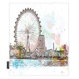 Moslion Ferris Wheel Throw Blanket Sketch of UK Britain Lond
