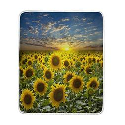 ALAZA Field of Sunflower Sunset Blanket Soft Warm Cozy Bed C
