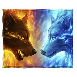 Dawhud Direct Fire and Ice Wolves Super Soft Plush Fleece Th