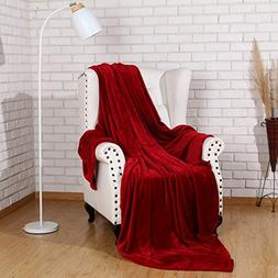 Flannel Throw Blanket Luxury Burgundy Red Twin Size 60x80 In