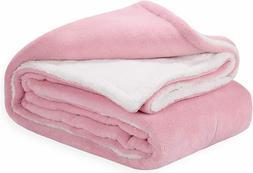 Pink Flannel Blanket Sherpa Throw Blanket Super Soft Fuzzy P