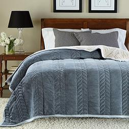 MEMORECOOL LIGHT UP YOUR HOME Flannel Blanket Throw Grey - f